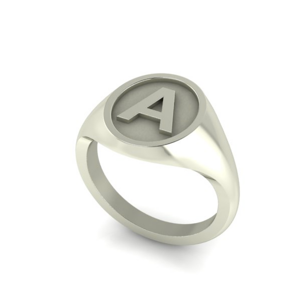 A - Alphabet Signet Ring A - Z -  9 Carat White Gold Signet Ring