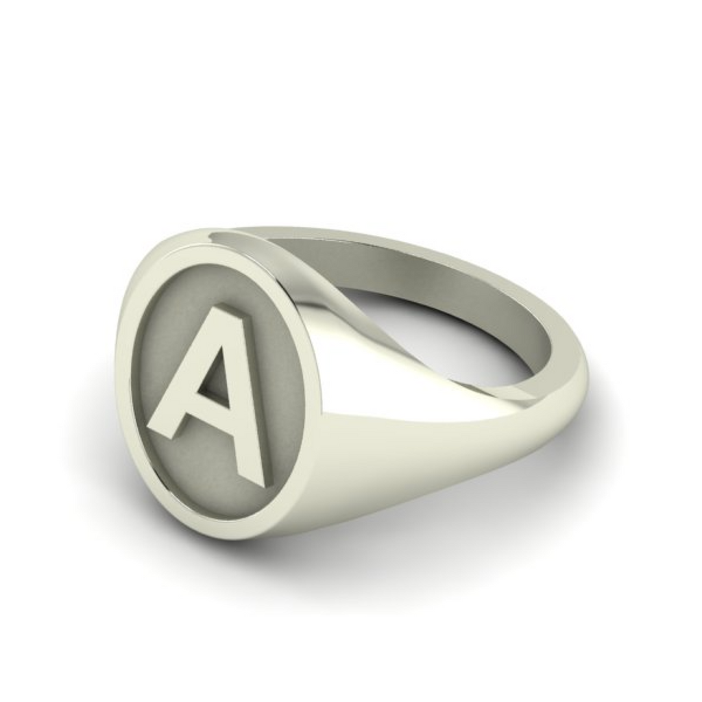 A - Alphabet Signet Ring A - Z -  Sterling Silver Signet Ring