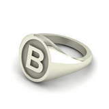 B - Alphabet Signet Ring A - Z -  9 Carat White Gold Signet Ring