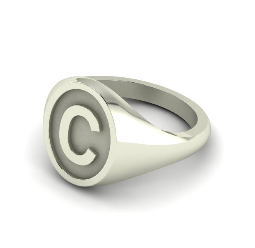 C - Alphabet Signet Ring A - Z -  Sterling Silver Signet Ring