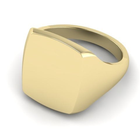 cushion signet ring 9 carat yellow gold 16mm x 13mm