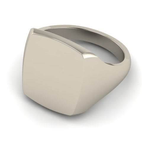 cushion signet ring 9 carat white gold 12mm x 10mm