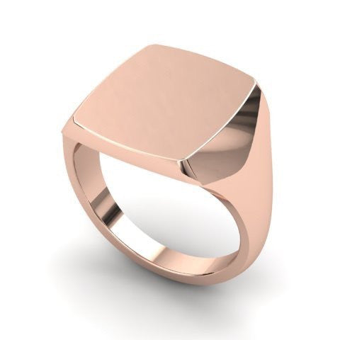 signet ring 9 carat rose gold 14mm x 12mm cushion