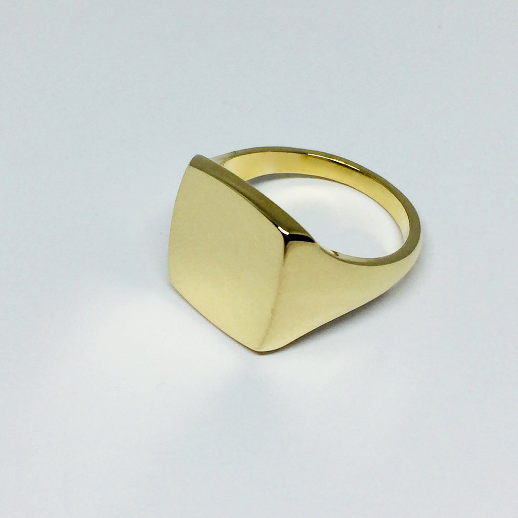 Cushion 14mm x 12mm - 9 Carat Yellow Gold Signet Ring