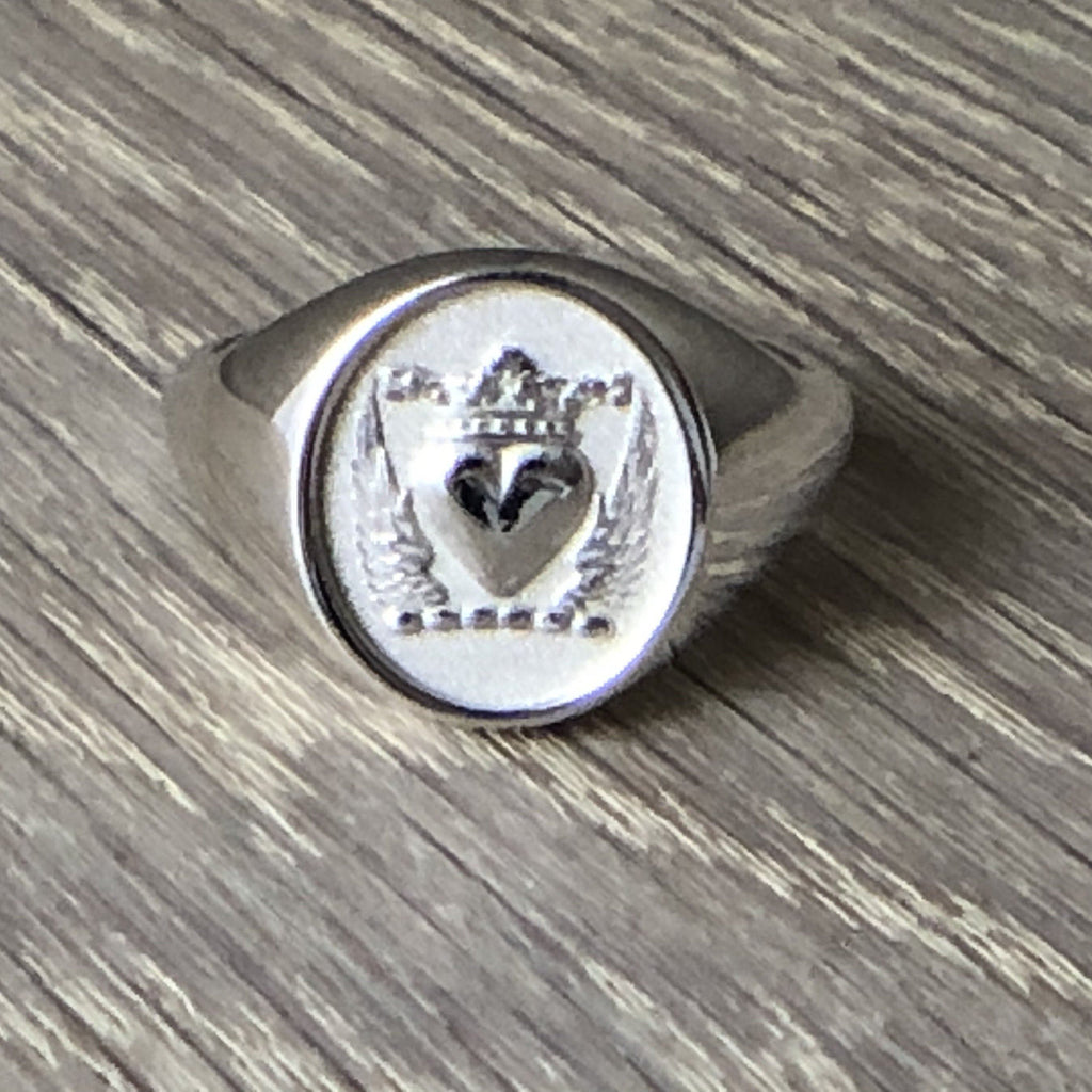 heart and crown signet ring