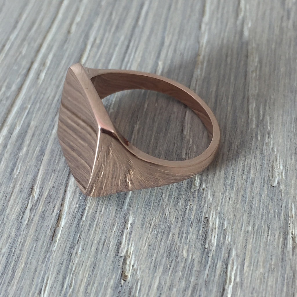 rose gold signet ring cushion shape