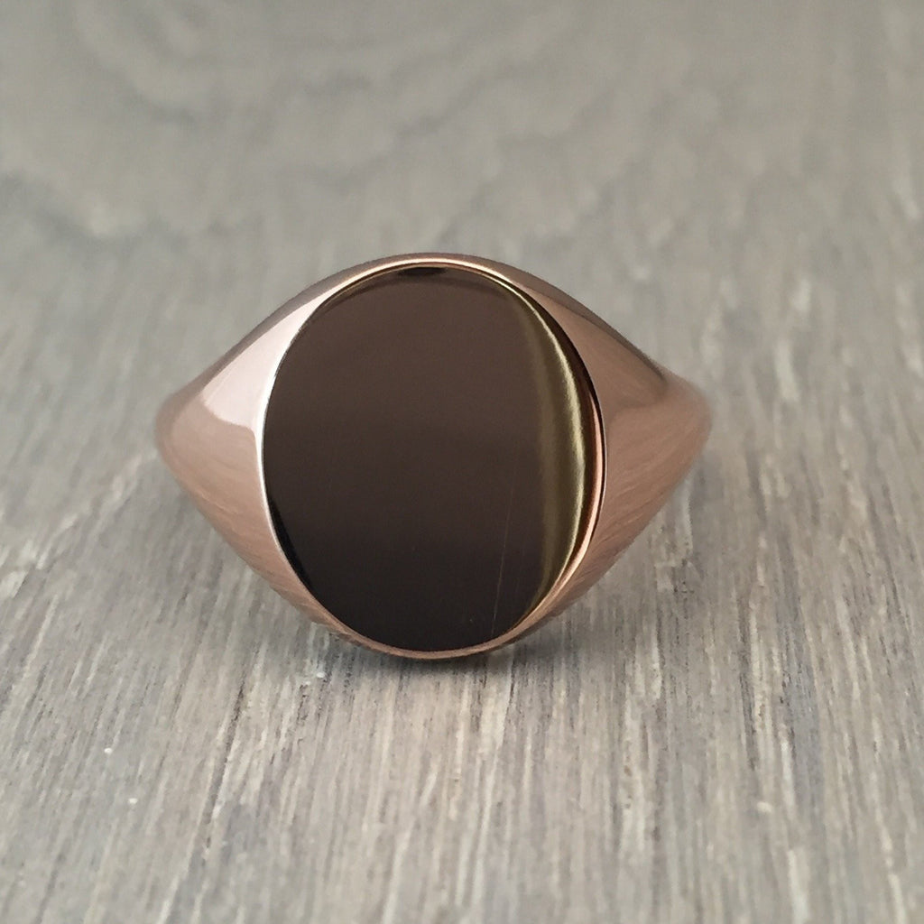 oval signet ring 9 carat rose gold 13mm x 11mm