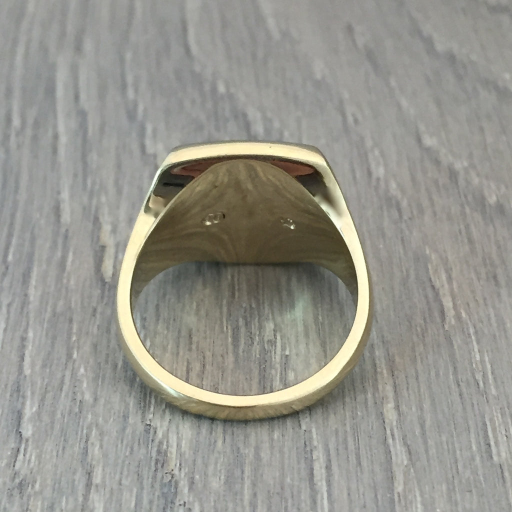 cushion signet ring 9 carat yellow gold 14mm x 12mm