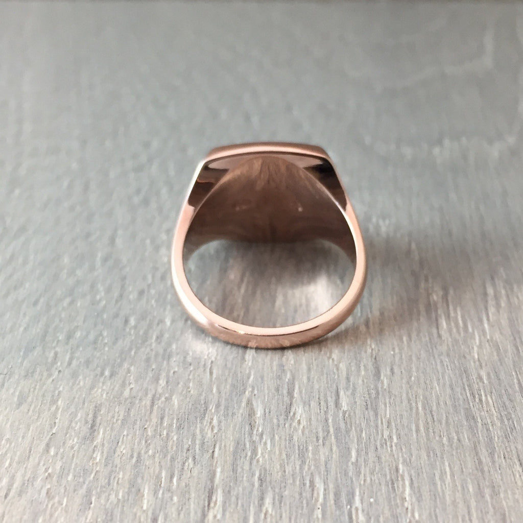 cushion signet ring rose gold