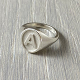 Letter A silver ring