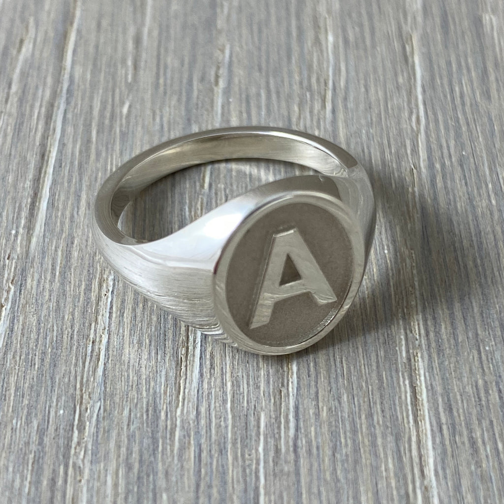 Letter A signet ring