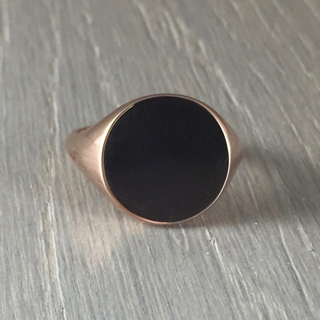Round 14mm - 9 Carat Rose Gold Signet Ring