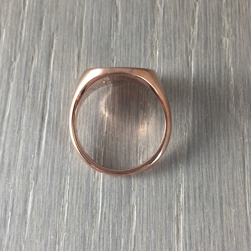9 carat rose gold 13mm round signet ring