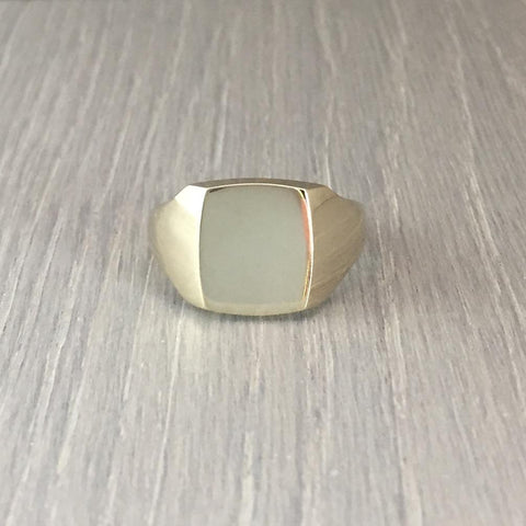 Cushion 12mm x 10mm - 9 Carat White Gold Signet Ring