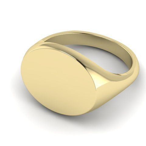 landscape oval signet ring 9 carat yellow gold 12mm x 10mm