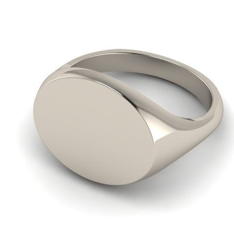 Landscape Oval 12mm x 10mm - 9 Carat White Gold Signet Ring