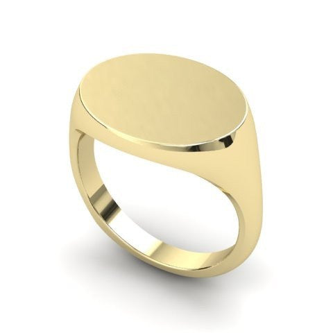landscape oval signet ring 9 carat yellow gold 15mm x 12mm
