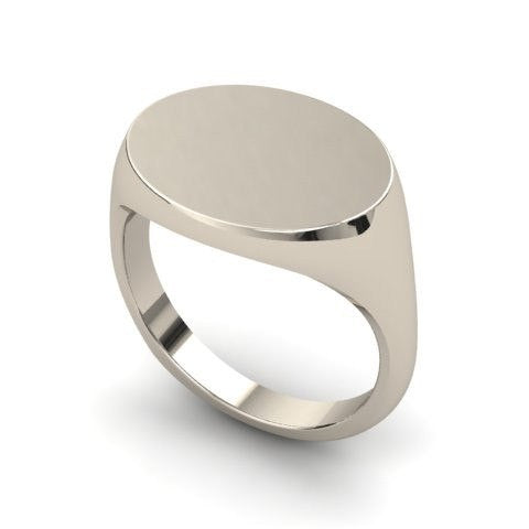 landscape oval signet ring 9 carat white gold 12mm x 10mm