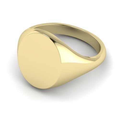 oval signet ring 9 carat yellow gold 16mm x 13mm