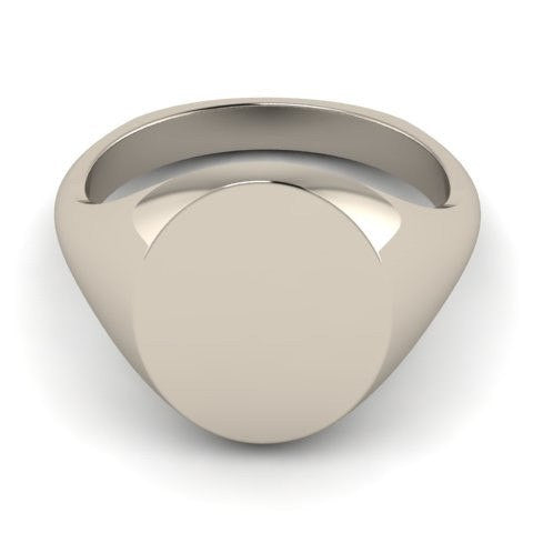 oval signet ring 9 carat white gold 14mm x 12mm