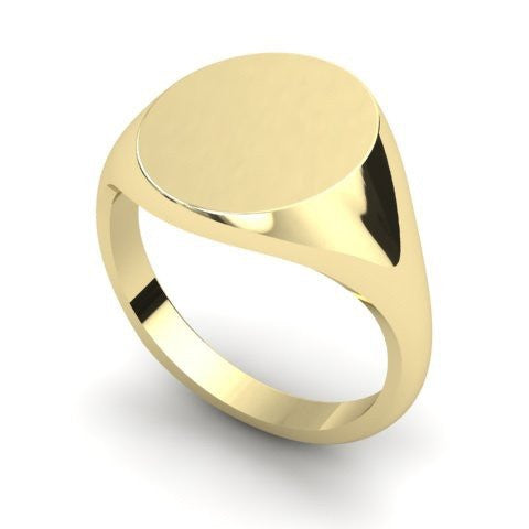 oval signet ring 9 carat yellow gold 13mm x 11mm