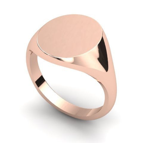 oval signet ring 9 carat rose gold 14mm x 12mm