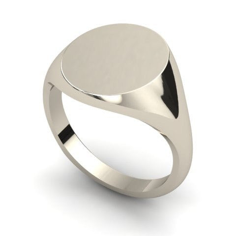 oval signet ring 9 carat white gold 16mm x 13mm