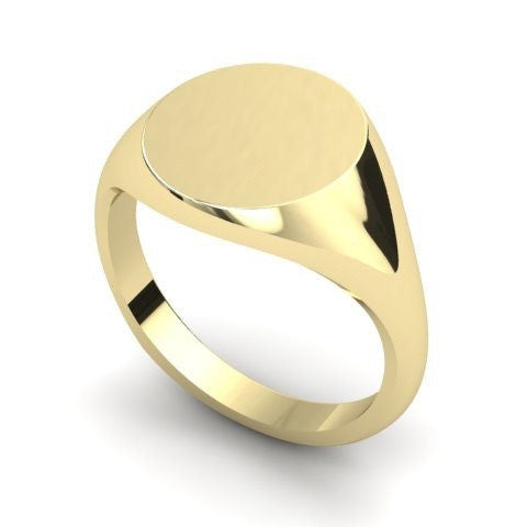 round signet ring 9 carat yellow gold 14mm
