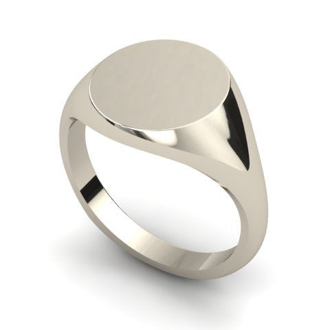 round signet ring 9 carat white gold 14mm