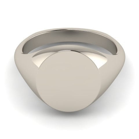 Round 14mm - 9 Carat White Gold Signet Ring