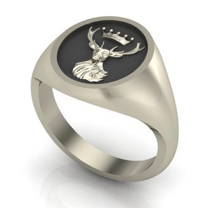 Stag and Crown - Oxidised Sterling Silver