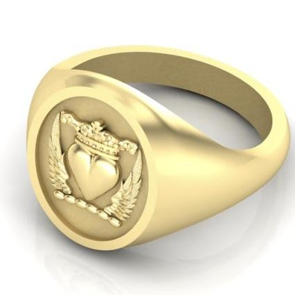Winged Heart with Crown - 9 Carat Yellow Gold