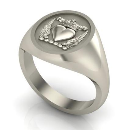 winged heart and crown signet ring