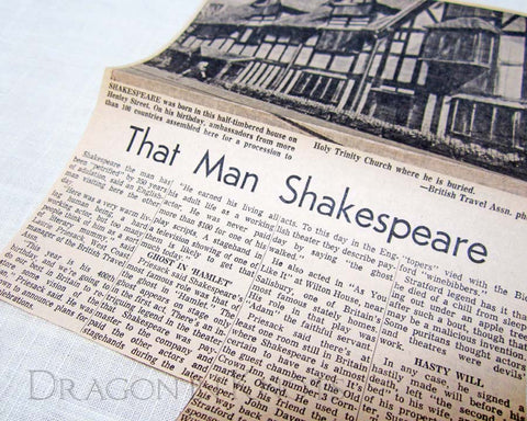 That Man Shakespeare vintage news article