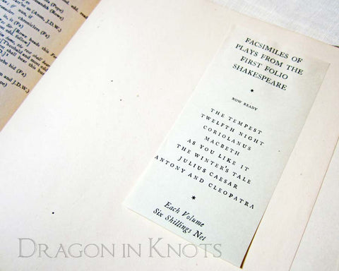 As You Like It - Facsimile of Shakespeare First Folio