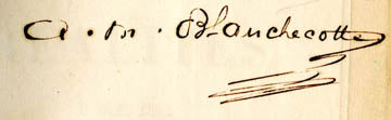 signature of A.M. Blanchecotte, 19th century French woman poet