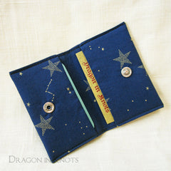 Dragon in Knots handmade minimalist card wallet - stars on navy blue