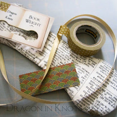 Book Weight, Washi Tape, Ribbon, and Hang Tags