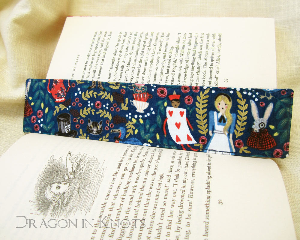 Alice Bookmark - Dragon in Knots - Fabric Bookmarks
