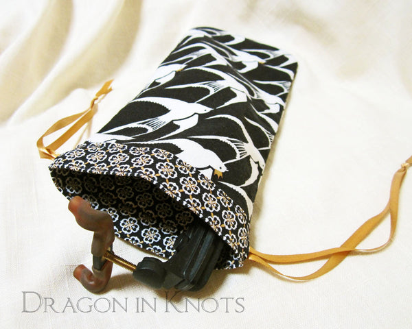 Black and White Drawstring Bag for Violin or Viola Shoulder Rest - Dragon in Knots handmade accessory