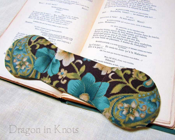 Aqua Flowers Book Weight - Dragon in Knots handmade accessory