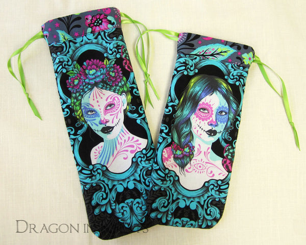 Day of the Dead Violin or Viola Shoulder Rest Bag - Dragon in Knots handmade accessory