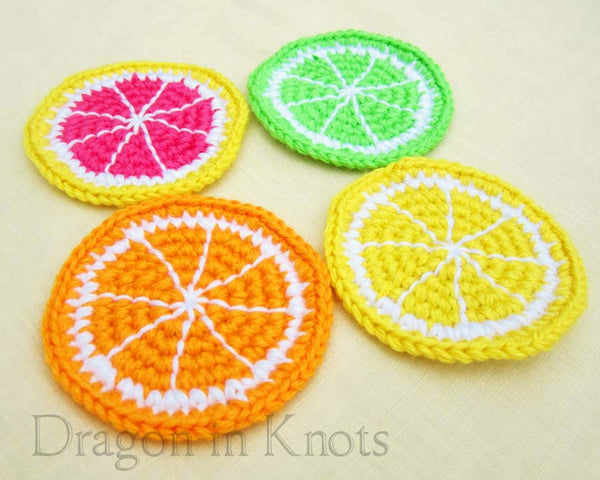 Citrus Fruit Coasters - Set of 4 - Dragon in Knots - Coasters