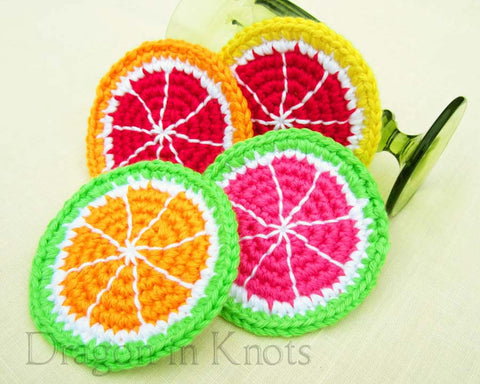 More Citrus Coasters - Set of 4 - Dragon in Knots - Coasters