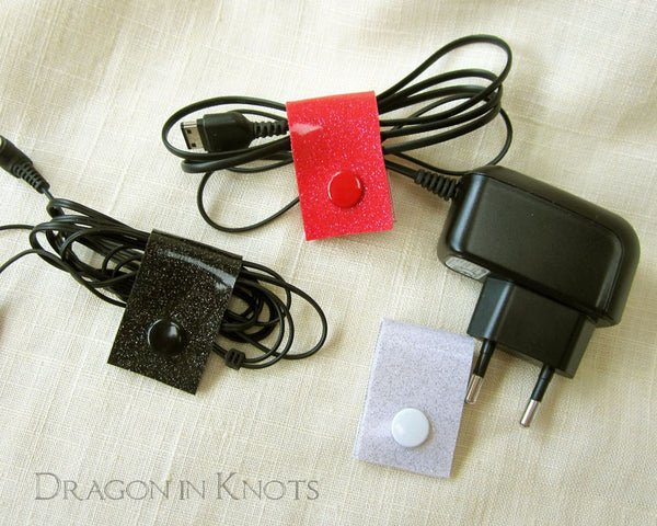 Cord Clips - Red, Black, and White - Dragon in Knots - Cord Ties