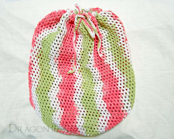 Striped Crocheted Backpack - Spring Green, Pink, and Off-white - Dragon in Knots - Market Backpack