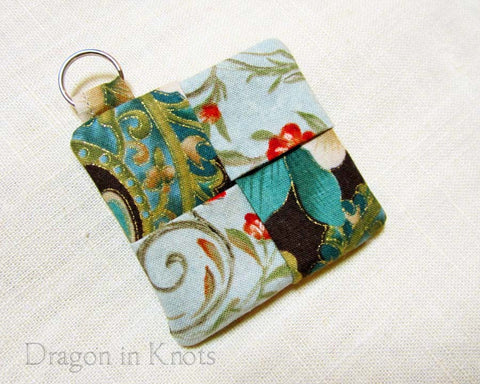 Earbud Pouch - Green and Brown - Dragon in Knots - Earbud Pouches