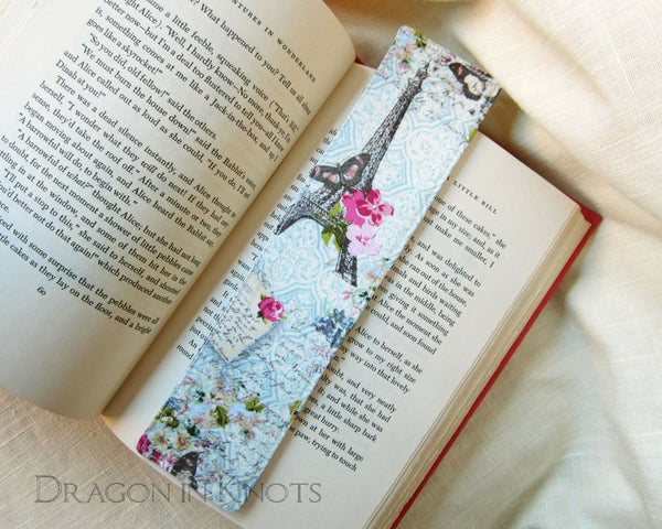 Eiffel Tower Fabric Bookmark - Dragon in Knots - Fabric Bookmarks