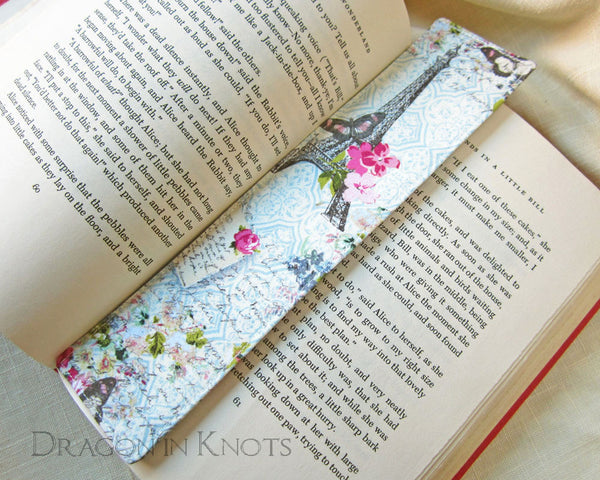 Eiffel Tower Fabric Bookmark - Dragon in Knots handmade accessory