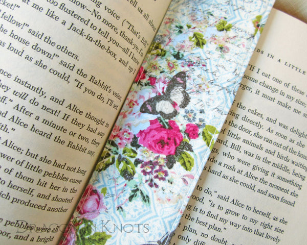 Eiffel Tower Fabric Bookmark - Roses and Butterflies Handmade Bookmark